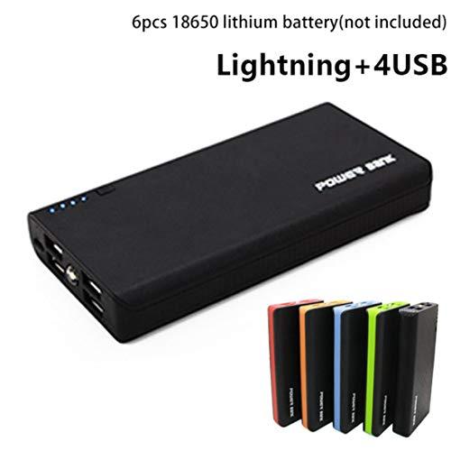 Power Bank Shell avec lampe de poche à LED 4 ports USB 5V 2A cas de chargeur de banque d'alimentation kits de bricolage alimentés par 6 x 18650 batteries - rouge