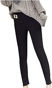 Gesix Moda y modelos casuales de otoño e invierno para damas con forro de cachemira, pantalones térmicos de cintura alta, leggings y pantalones elásticos, leggings con forro de lana cálida