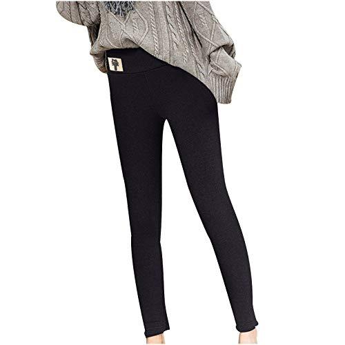 theshyer Leggings Casuales de Cachemira de Cordero de otoño e Invierno para Mujer, Leggings de Cintura Alta con Estampado de Gatito, Pantalones cálidos