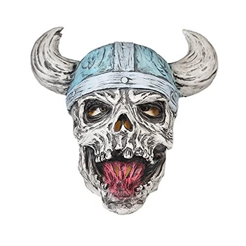 CHUIKUAJ Halloween Realista Horror Pirata Calavera Fantasma Cosplay Látex Sombrero/Fiesta de Carnaval Bar Aterrador Disfraz Atrezzo,Grey