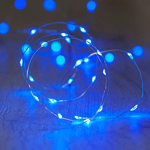Lights4fun 20er LED Draht Micro Lichterkette blau Batteriebetrieb