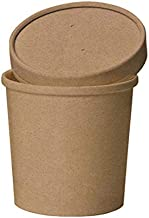 Eco Friendly Microwavable Kraft Soup Bowls   Disposable Food To-Go Containers-Soup Containers With Airtight Lids. Great For Restaurants, Take Outs, Or To-Go Lunch 25/Pack (16 oz, Brown)
