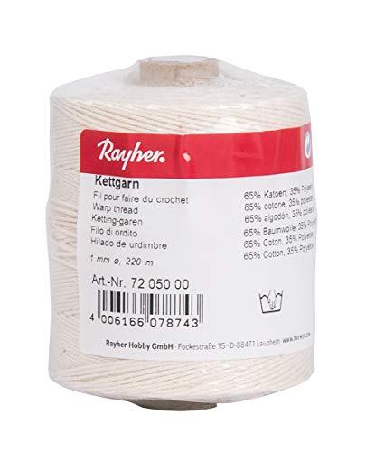 Rayher 7205000 Kettgarn, Rolle 220 m, 1 mm ø, 6-fädig, weiß, 65 Prozent Baumwolle, 35 Prozent Polyester, zum Bespannen von Webrahmen, Häkelgarn