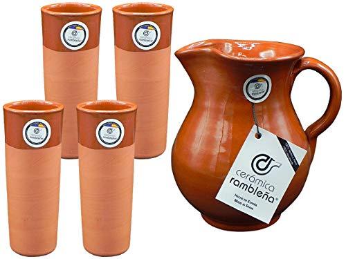 CERÁMICA RAMBLEÑA | Juego Jarra Cerveza | Juego Vasos de Cerveza 4 Unidades | Juego Jarra y Tubos | Jarra 1.5 litros | 4 Tubos 300 ml