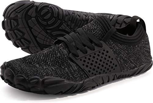 JOOMRA Women's Trail Running Shoes Minimus Wide Camping Workout Female Trainer Barefoot Runner Walking Tennis Sneakers Black Grey Size 7
