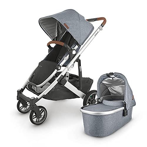 UPPAbaby Cruz V2 Stroller - Gregory (Blue Marl/Silver/Saddle Leather) + Bassinet - Gregory (Blue Marl/Silver)
