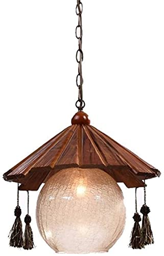 AERVEAL Lámpara Colgante de Madera Retro Japonesa Lámpara Colgante Creativa Casa de Campo Colgante Lámpara de Techo Retro Japonesa de una Sola Cabeza Lámpara de Araña Vintage para Sala de Estar Dormi