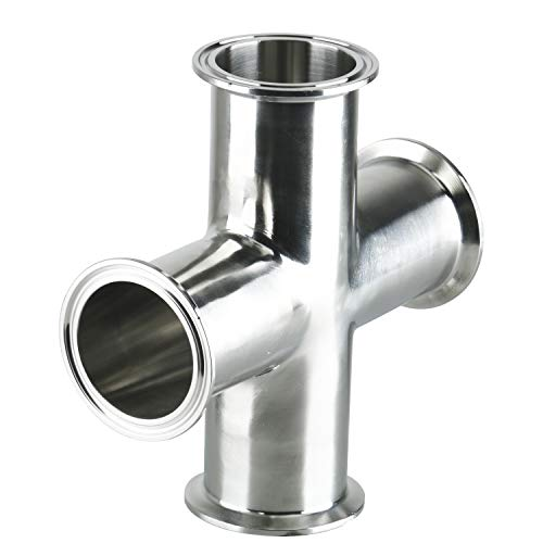 Homend 4 Way Cross Clamp Stainless Steel 304 Sanitary Fitting Fits 2