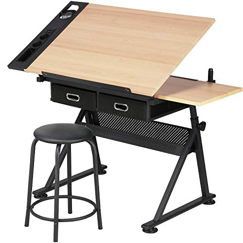 Yaheetech Art Desk/Table with Adjustable Height 65-90.5cm and 2 Drawers Tiltable Tabletop Drafting/Drawing Table Art/Craft Desk with Stool Load Capacity 220 lb