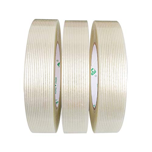 3 Pack Reinforced Filament Packing Tape,5.3 Mil 24mm x 60 Yards, Fiberglass Strapping Tape, BOMEI PACK