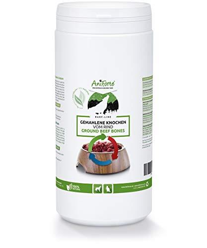AniForte gemahlene Knochen bekannt als Fleischknochenmehl für Hunde und Katzen 1 kg - Natürliches Calcium für Knochenaufbau & Gelenke, Reines Knochenmehl vom Rind als Futter & Barf Ergänzung