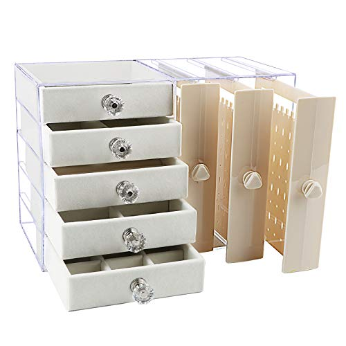 VINFUTUR Caja Pendientes Organizadora Joyero Plástico Transparente Organizador Acrilico Pendientes Mujer Colgador Joyas Caja Titular Almacenamiento Joyería