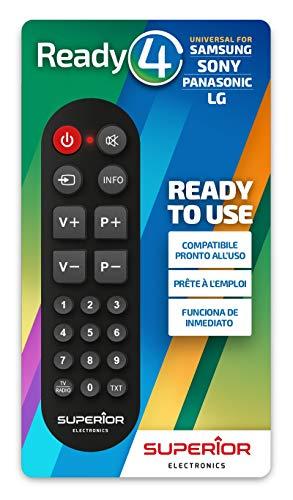 Ready 4 - Telecomando universale compatibile con tutti i televisori LG/SAMSUNG/SONY/PANASONIC. Pronto all'uso, non richiede programmazione