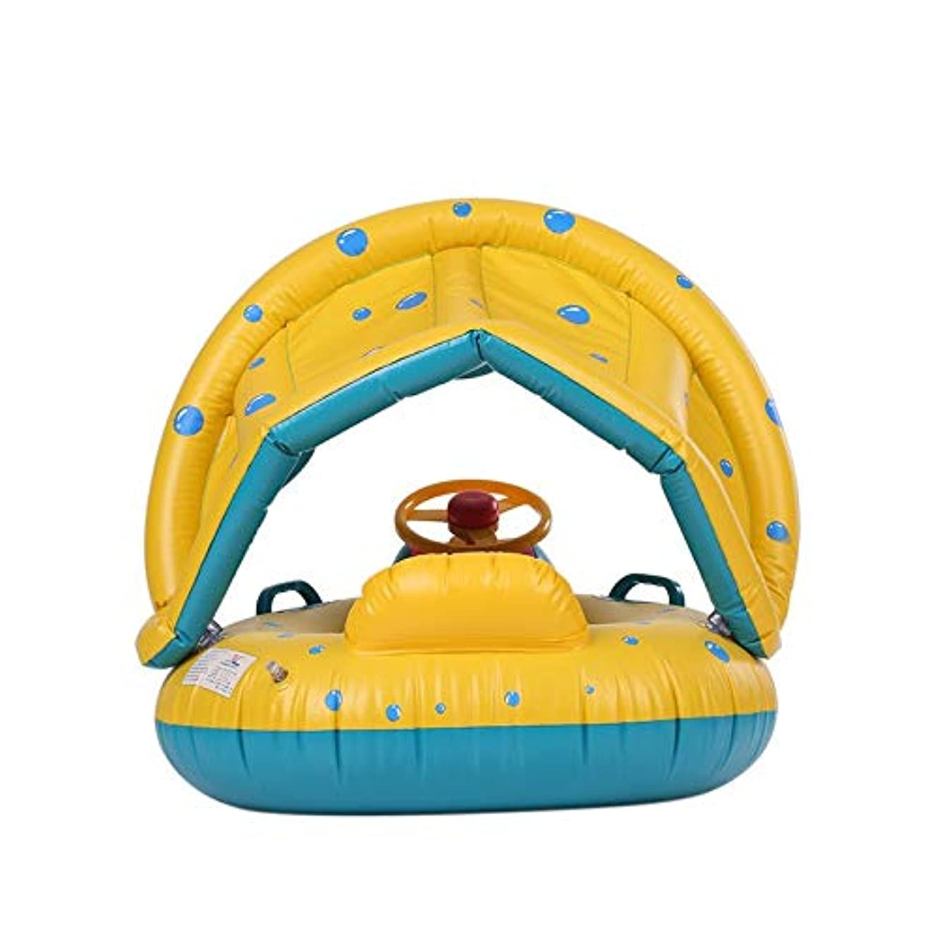 Lovelystar nflatable Soft Baby Swimming Ring Pool Float Boat Rider with Detachable Sun Canopy Shade Toy for Infant Toddler Kid Children