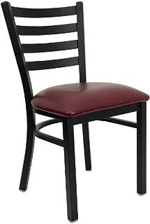 Flash Furniture 4 Pk. HERCULES Series Black Ladder Back Metal Restaurant Chair - Burgundy Vinyl Seat