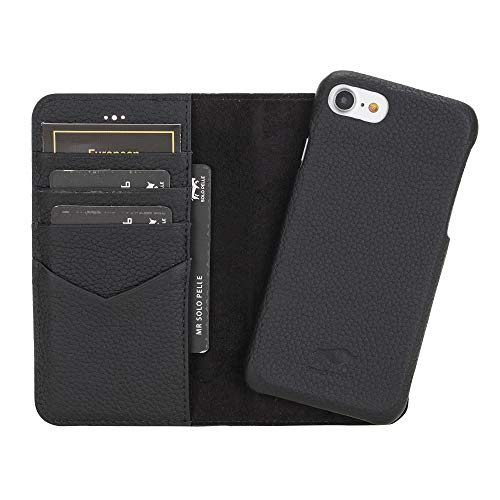 Solo Pelle iPhone SE 2020/7 / 8 abnehmbare Lederhülle (2in1) inkl. Kartenfächer für das original iPhone 7/8 (Ultra Schwarz Matt)