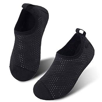 JIASUQI Quick Dry Beach Walking Water Shoes for Kids Boys Gilrs Dot Black US 2.5-3 M Little Kid