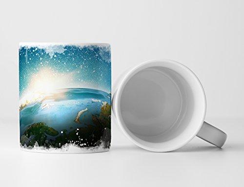 Eau Zone Fotokunst Tasse Geschenk Fotocollage Erde mit Sonnenstrahlen im Weltall