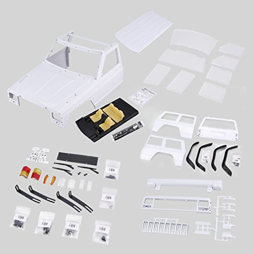 WXZQ Axe-313 12,3 Pulgadas / 313 Mm Distancia Entre Ejes Carcasa del Cuerpo Kit de Bricolaje para 1/10 RC camión Oruga Axial Scx10 y Scx10 II 90046 90047 Blanco