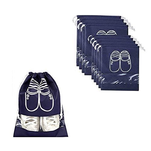 10 Paket Travel Sacs à Chaussures de Voyage Sacs de Voyage Respirants Sacs Organisateurs,Drawstring Portable Anti-poussière avec Fenêtre Transparente (bleu )