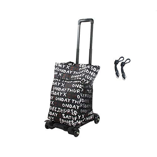 ZYL-YL Folding trolley, light travel trolley/heavy trolley, portable 4-wheel luggage trolley with bungee cord for personal, mobile, travel and shopping purposes,A (Color : B)