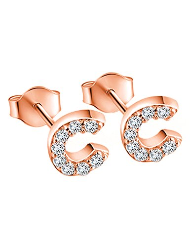 925 Sterling Silver Tiny Initial Earring Studs Rose Gold Plated Letter C