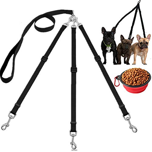 Three Dogs Leash Nylon Detachable Pet Lead Handle 1 Leash for 3 Dogs Round Dog Traction Rope