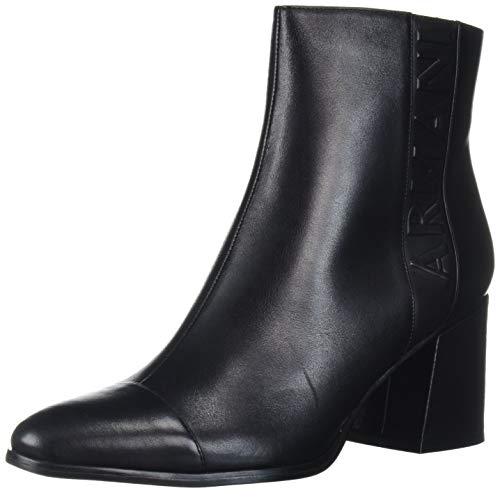 Armani Exchange Damen Calf Leather Half Boot Stiefeletten, Schwarz (Black + Black K001), 42 EU