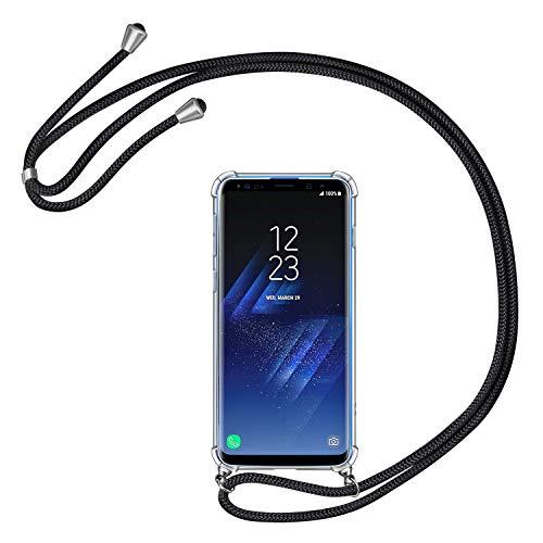 AROYI Handykette Handyhülle kompatibel mit Samsung Galaxy S9 Hülle mit Kordel zum Umhängen Necklace Hülle mit Band Schutzhülle Transparent Silikon Acryl Case Schwarz Silber