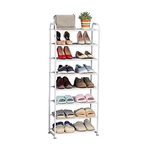 Étagère À Chaussures À 8 Niveaux, Meuble De Rangement Polyvalent, Cadre en Fer, Peu Encombrant, pour Entrée, Salon, Chambre, 50X25x135cm(Blanc)