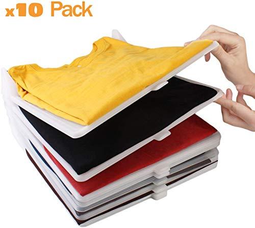 KOARBI Organizador de Camisetas, Ropa, Armario. Resistente y Reciclable. Antihumedad y Antiarrugas. Organiza Camisas, cajoneras, estanterías, armarios. Pack de 10