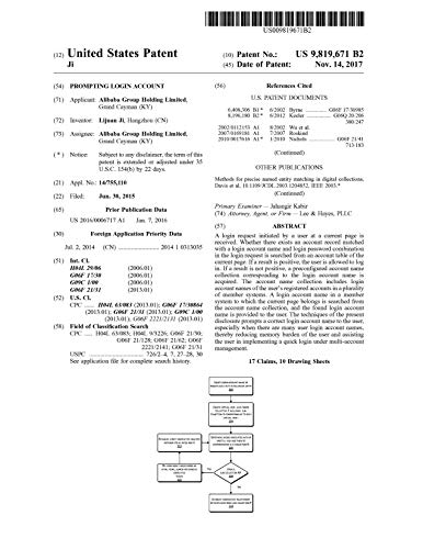 Prompting login account: United States Patent 9819671 (English Edition)