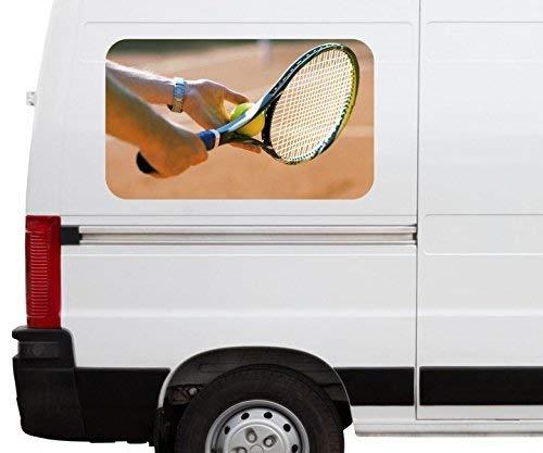 Autoaufkleber Tennis Aufschlag Tennisschläger Car Wohnmobil Auto tuning Digital Druck Fenster Sticker LKW Bild Aufkleber 21B674, Größe 3D sticker:ca. 45cmx27cm