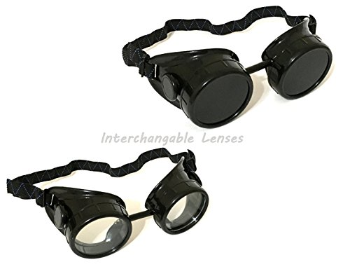 1 ALAZCO Black Welding Oxy-Acetylene Goggles Steampunk - 50mm Eye Cup #5 Lens - Welding, Torching, Soldering, Brazing & Cutting Metals - Made in Taiwan