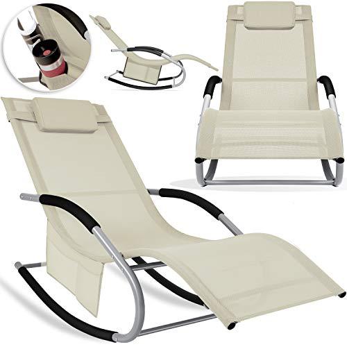 KESSER® Sonnenliege Relaxliege Schwungliege | Gartenliege | Gartenstuhl | Klappstuhl faltbar | Liegestuhl | Schaukelsessel | ergonomische Relaxsessel | wetterfest | 150 kg Belastung |, Beige