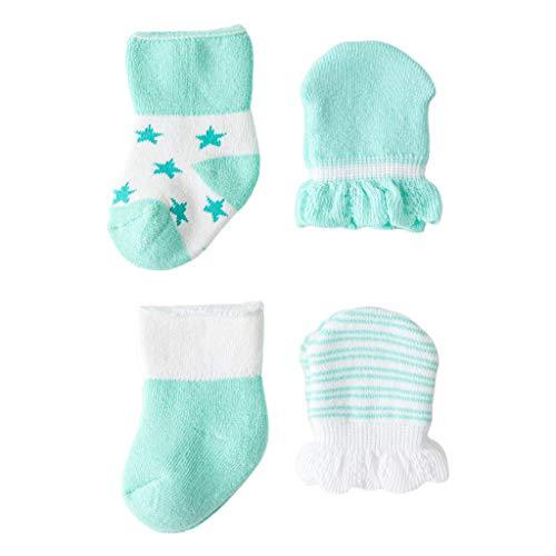 GHBOTTOM Juego de 4 pares de calcetines para recién nacidos para bebés de 0 a 6 meses, antiarañazos, transpirables, manoplas