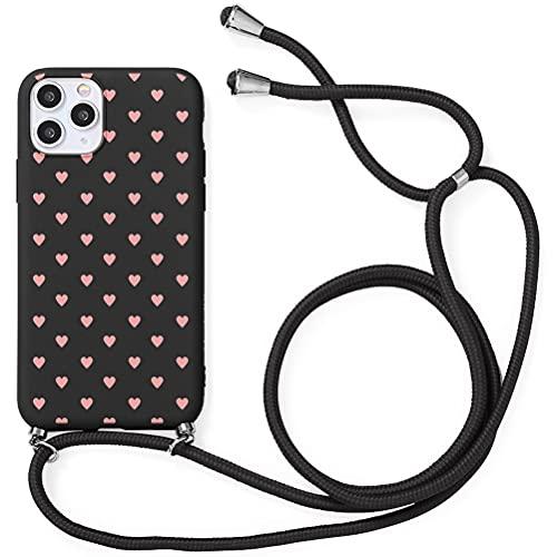 Yoedge Funda con Cuerda para Huawei P8 Lite/P9 Lite 2017-5,2', Funda de Silicona AntiChoque Suave TPU para Teléfono Móvil con Colgante Ajustable Collar Correa para el Cuello Cadena Cuerda, Amor Negro