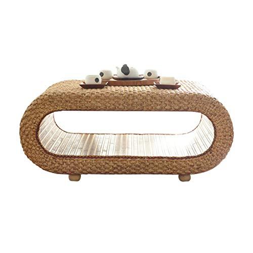 Tables Salon Basse Petite Basse Baie Vitrée Tatami en Rotin Basse De Sol Balcon Double Basse Basses (Color : Wood Color, Size : 60 * 43 * 35cm)