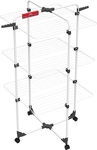 Vileda Mixer 3 Wäscheständer, Eco-pack, 30m Leinenlänge, 3 Ebenen für 2 Waschladungen, Flex-Gelenk, rollbar, Grau, 5 x 127,5 x 71 cm
