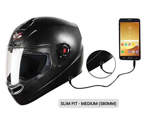 Steelbird SBA-1 7Wings HF Dashing Full Face Helmet with Plain Visor and Detachable Handsfree Device (MEDIUM 580 MM, BLACK)