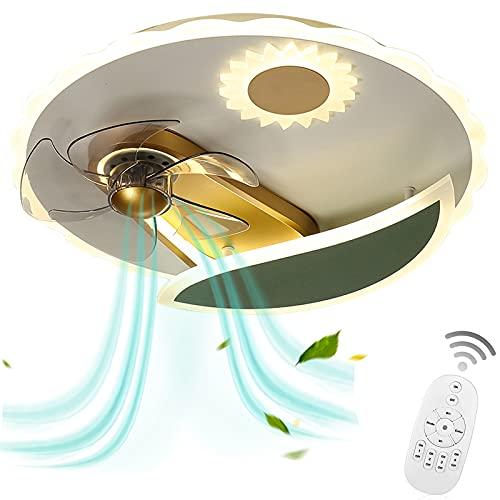 VOMI Led de Techo con Fan Control Remoto 3 Velocidades, Ventilador de Luz de Techo Silencioso Lámpara Plafon con Fan 42W Regulable para Dormitorio, 5 Aspas, Paralume in Acrílico, Verde+Ddorado