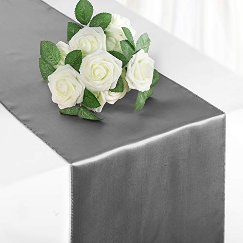 Syntus Satin Table Runner, 10 Pack 12 x 108 inch Bright Silk and Smooth Fabric for Wedding, Birthday Parties, Banquet Decoration, Thanksgiving & Christmas, Silver
