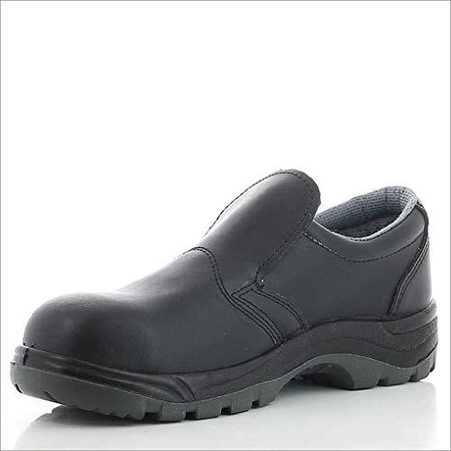 Oxypas S3 Sicherheitsschuhe Herren mit Stahlkappe - rutschfester Arbeitsschuh für Damen, hochwertiger Leder Sicherheitsclog, antibakteriell, Safety Jogger X0600 Schwarz, EU 44