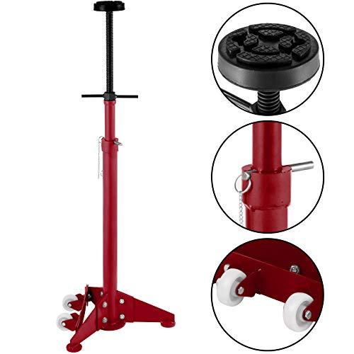 Bestauto Underhoist Stand 3/4 Ton Capacity Pole Jack Heavy Duty Jack Stand Car Support Jack Lifting from 1.1 m to 1.8 m, Triangular Base, Two Wheels, Easy Adjustment, Automotive Support, Red