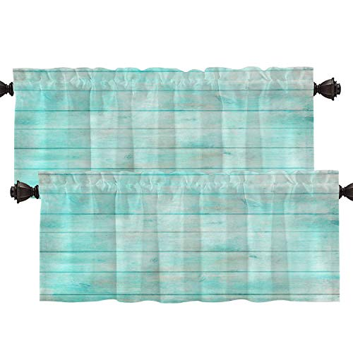 Batmerry Wood Rustic Mint Beige Kitchen Valances Half Window Curtain, Shabby Chic Wood Rustic Old Plank in Turquoise Kitchen Valances for Bedroom Valance for Decor Reducing The Light 52x18 Inch