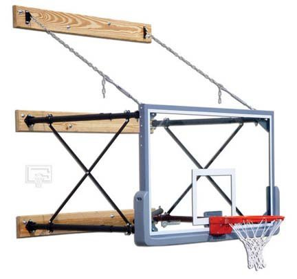 Four-Point Wall Mount Basketball System with 42' x 72' Glass Backboard and 2-3 Foot Extension