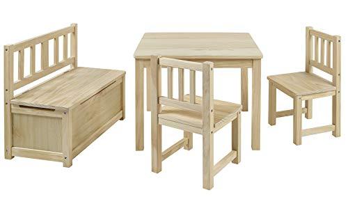 BOMI Kindertisch mit 2 Stühle und Spielzeugkiste | Kindertruhenbank aus Kiefer Massiv Holz für Kinder | Kindersitzgruppe unbehandelt Mädchen und Jungen