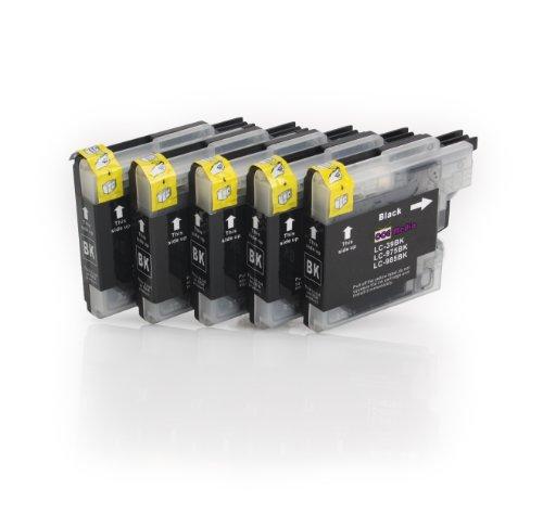 5 compatible Cartridges for BROTHER LC985 BK Ink | 5x Black | suitable for BROTHER DCP-J125/J140W/J315/J315W/J515W & MFC-J220/J265W/J270W/J280W/J410/J415W, [Importado de UK]