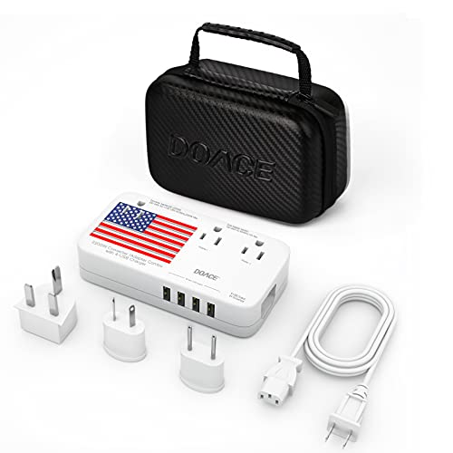 DOACE X11 2200W Travel Voltage Converter for Hair Dryer Straightener Curling Iron, 10A Travel Power Adapter with 6A 4-Port USB and UK/AU/EU/US Plug Wall Chargers for Cell Phone Camera Tablet Laptop