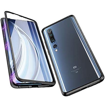 Jonwelsy Funda para Xiaomi Mi 10/10 Pro, Adsorción Magnética Parachoques de Metal con 360 Grados Protección Case Cover Transparente Ambos Lados Vidrio Templado Cubierta para Xiaomi Mi 10 (Negro)